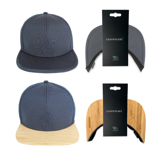 Navy 6 Panel Cap Set | Bamboo Wood + Free Fabric Visor