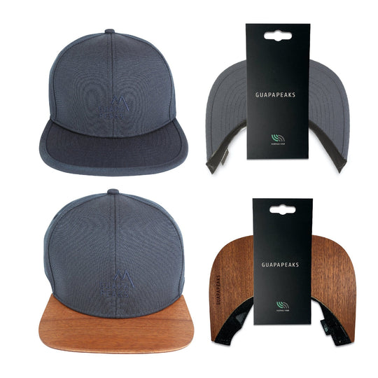 Navy 6 Panel Cap Set | Saepelle Wood + Free Fabric Visor