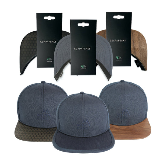 Navy 6 Panel Cap Set | Walnut & Black Surf + Free Fabric Visor