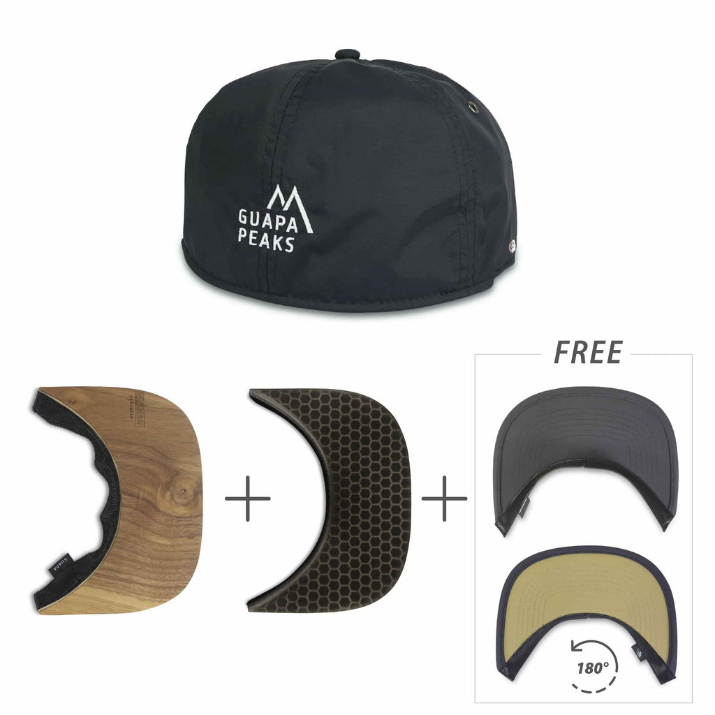 Black Ripstop Set | Walnut Wood & Black Surf + Free Visor