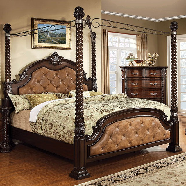 Furniture Of America Monte Vista II Luxurious Ivory Leather Brown Cherry Bed