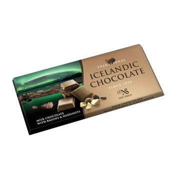 Traditional Icelandic Chocolate with Raisins and Hazelnuts