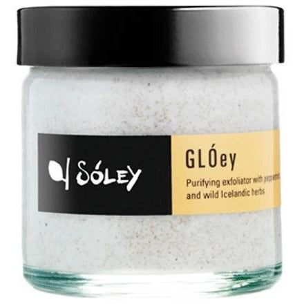 GLÓey exfoliator with blend of wild Icelandic herbs