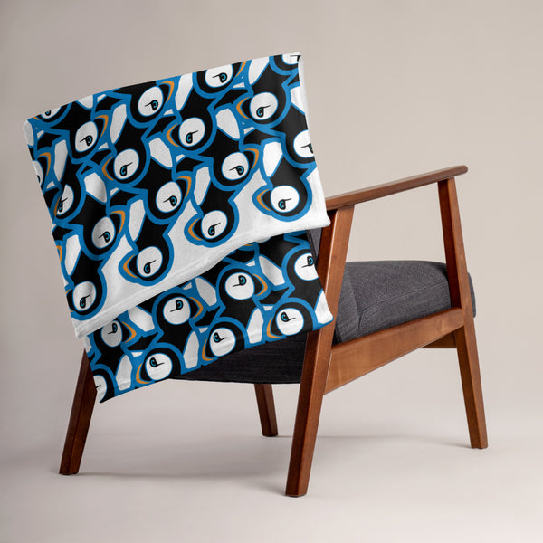 Puffins In Blue. Throw Blanket