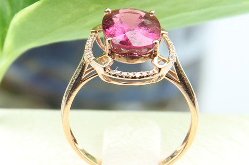 Jasper and Diamond Gold Ring