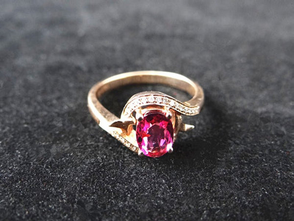 Red Tourmaline Gold Ring with Diamond Feature