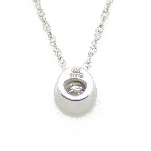 9ct White Gold Certified 0.10ct Round Diamond Slider Rubover Pendant & Chain Detail
