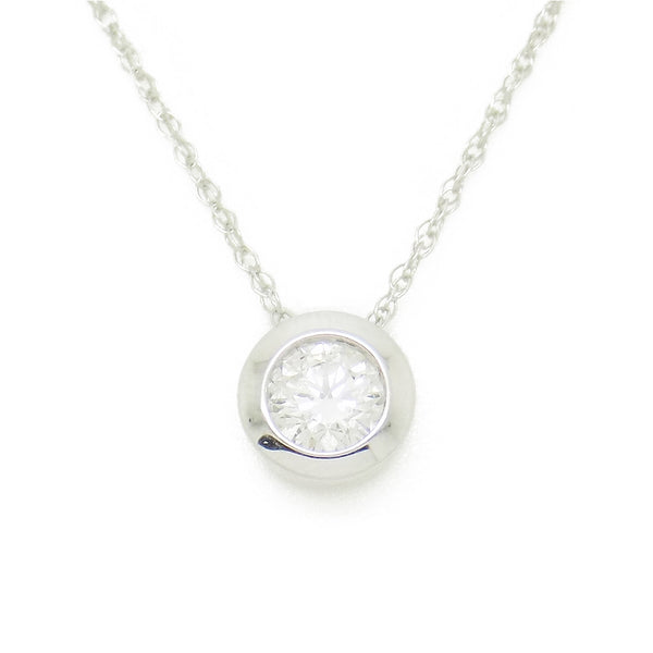 9ct White Gold Certified 0.25ct Round Diamond Slider Rubover Pendant & Chain