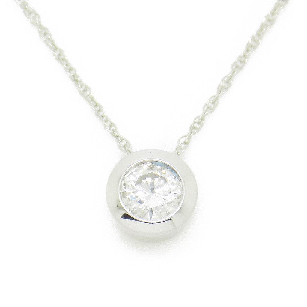 9ct white gold certified 030ct round diamond rubover slider pendant 9ct white gold certified 030ct round diamond rubover slider pendant chain mozeypictures Images