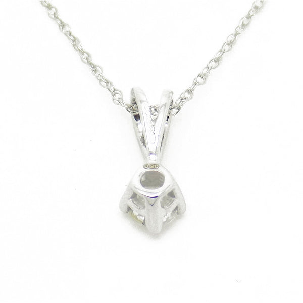 9ct White Gold Certified 0.20ct Round Diamond Claw-set Pendant & Chain Detail