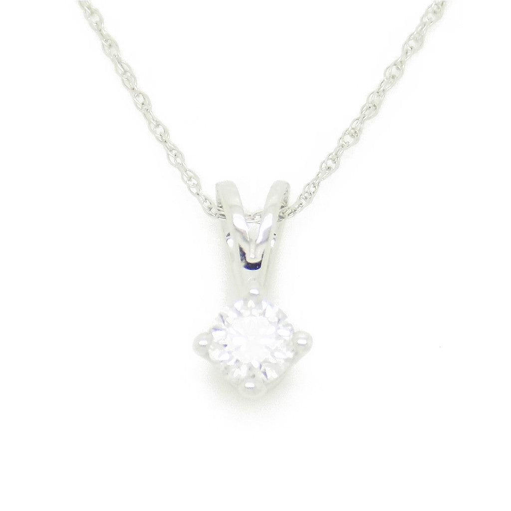 9ct white gold certified 025ct round diamond claw set pendant 9ct white gold certified 025ct round diamond claw set pendant mozeypictures Images