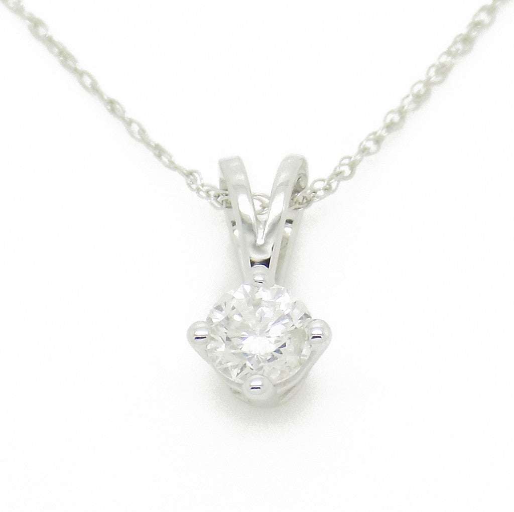 9ct White Gold Certified 0.30ct Round Diamond Claw-Set Pendant & Chain Duplicate
