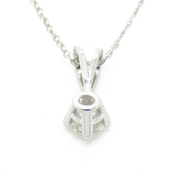9ct White Gold Certified 0.30ct Round Diamond Claw-Set Pendant & Chain Duplicate Detail