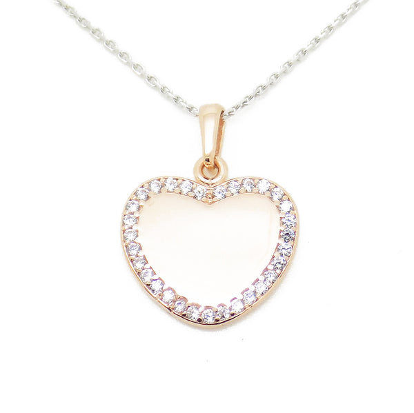 'Hush' Jewels Sterling Silver & Rose Gold Plate Cubic Zirconia Heart Pendant and Chain