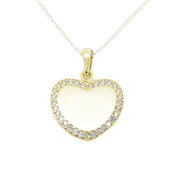 'Hush' Jewels Sterling Silver, Yellow Gold Plated Cubic Zirconia Heart Pendant and Chain