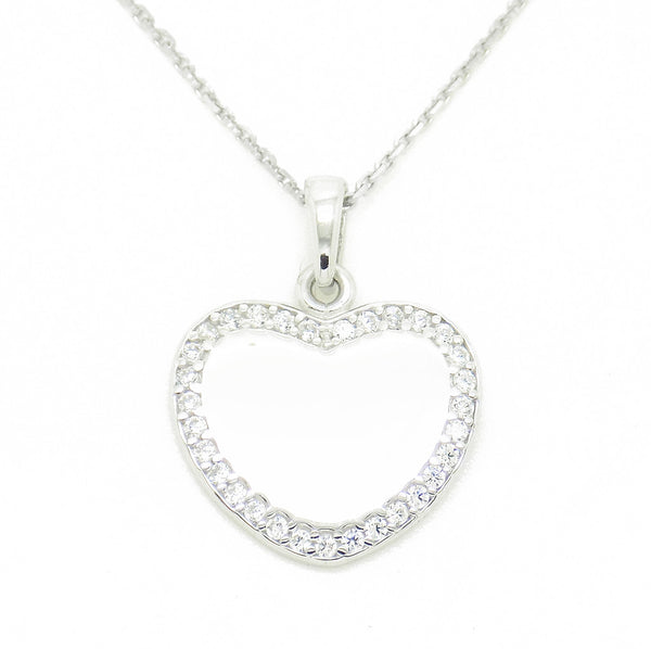 'Hush' Jewels Sterling Silver Cubic Zirconia Heart Pendant and Chain