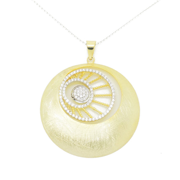 'Hush' Jewels Sterling Silver & Gold Plated Cubic Zirconia Webbed Design Three Circle Pendant and Chain