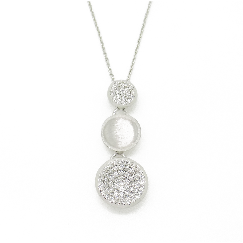 'Hush' Jewels Sterling Silver Cubic Zirconia Three Graduated Disc Drop Pendant & Chain