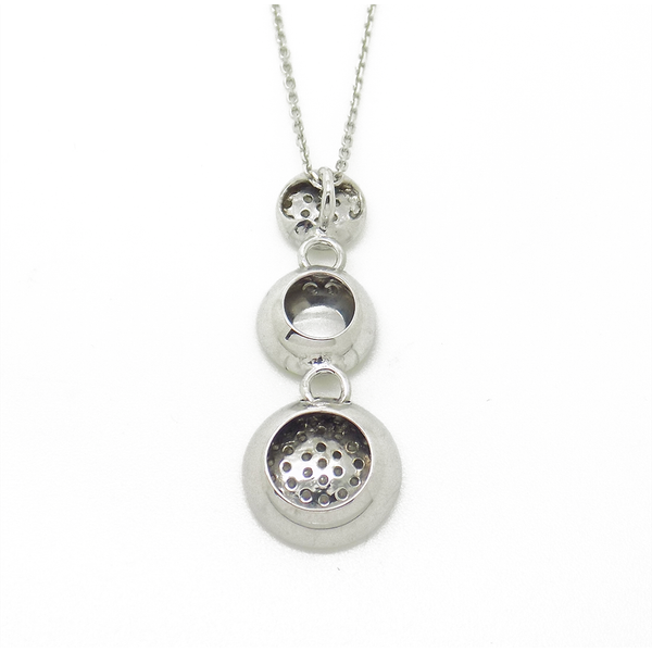 'Hush' Jewels Sterling Silver Cubic Zirconia Three Graduated Disc Drop Pendant & Chain - Back Detail