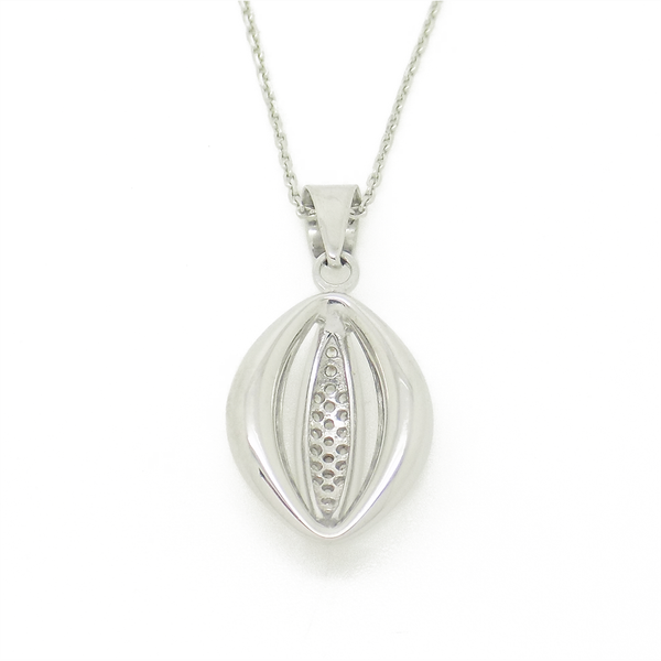 'Hush' Jewels Sterling Silver Cubic Zirconia 'Eye' Pendant & Chain - Back Detail