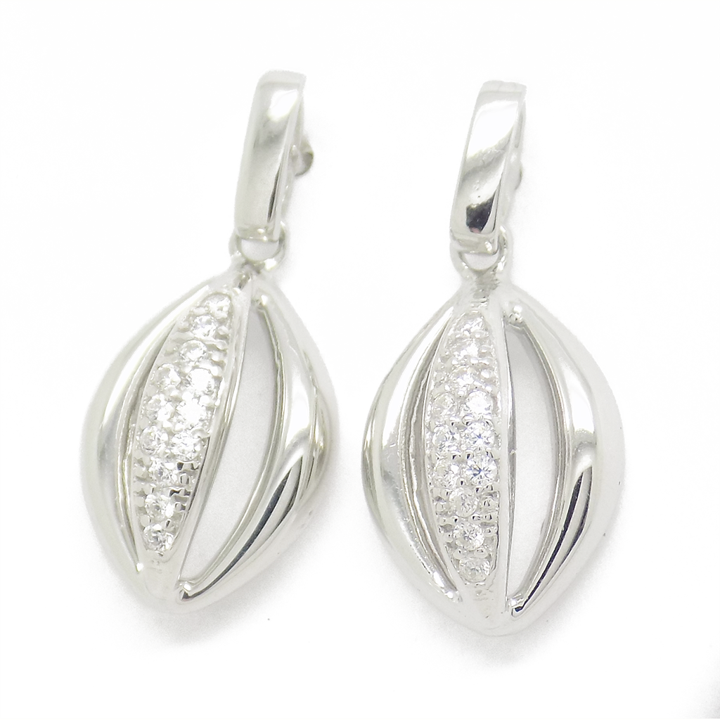'Hush' Jewels Sterling Silver Cubic Zirconia 'Eye' Drop Earrings
