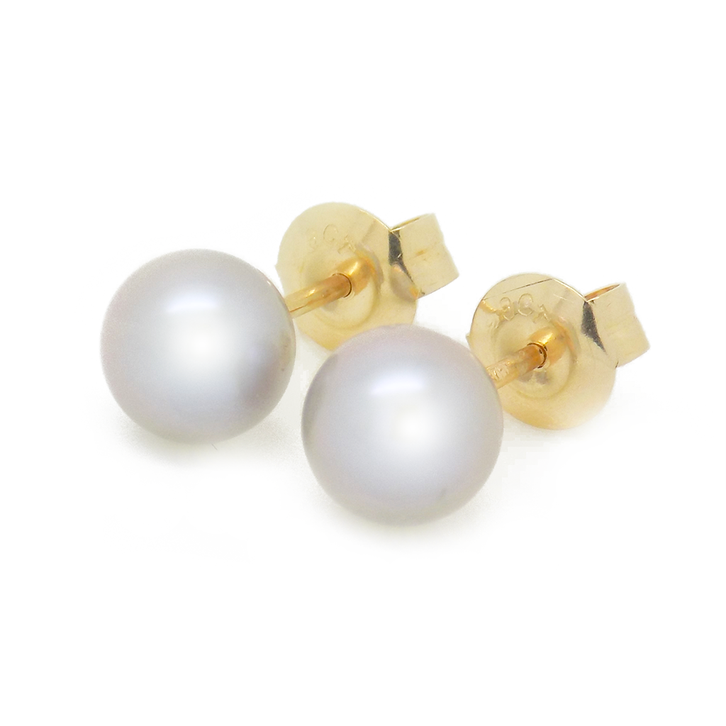 9ct Yellow Gold 6mm Round Grey Freshwater Cultured Pearl Earrings