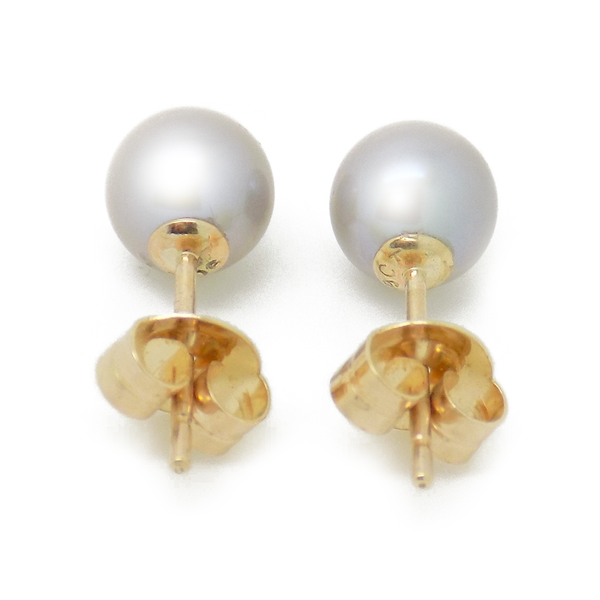 9ct Yellow Gold 6mm Round Grey Freshwater Cultured Pearl Earrings - Fastening Detail