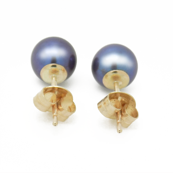 9ct Yellow Gold 7mm Round Black Treated Freshwater Cultured Pearl Earrings Reverse