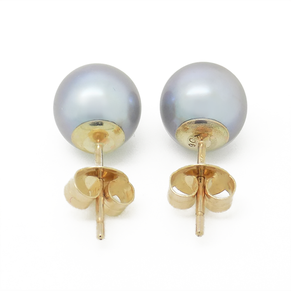 9ct Yellow Gold 8mm Round Grey Freshwater Cultured Pearl Earrings Reverse