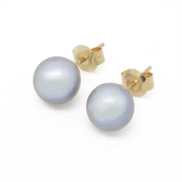 9ct Yellow Gold 8mm Round Grey Freshwater Cultured Pearl Earrings