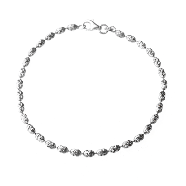 Sterling Silver Diamond-Cut Bead Link Bracelet