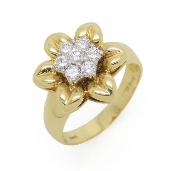 Pre-Loved 18ct Yellow Gold Diamond Flower Cluster Ring