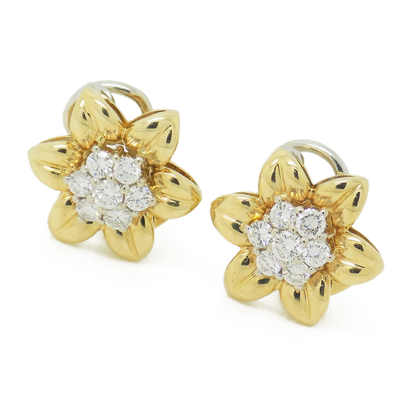 Pre-Loved 18ct Yellow Gold Diamond Flower Clip Earrings