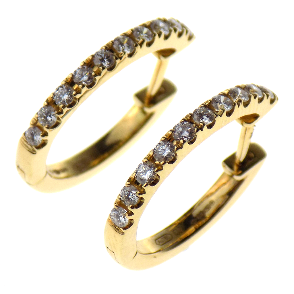 18ct Yellow Gold Diamond Oval Hoop Earrings