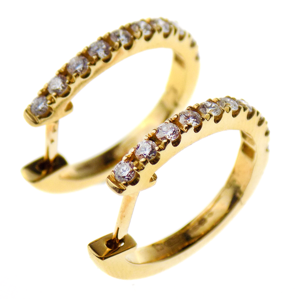 18ct Yellow Gold Diamond Oval Hoop Earrings Reverse