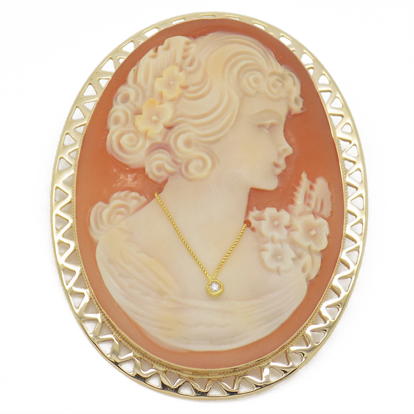 Pre-Loved Yellow Gold Cameo Brooch/Pendant