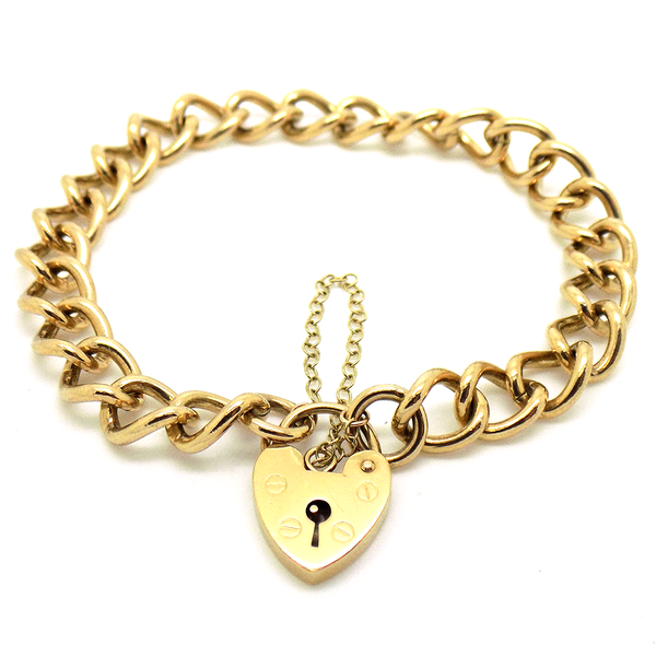 Pre-Loved 9ct Yellow Gold Curb Link & Heart Padlock Bracelet with Safety Chain