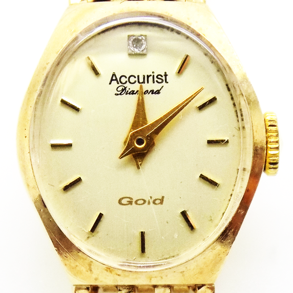 Pre-Loved 9ct Yellow Gold Ladies Accurist Watch Face Detail