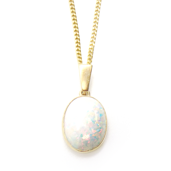 9ct Yellow Gold Oval Opal Pendant