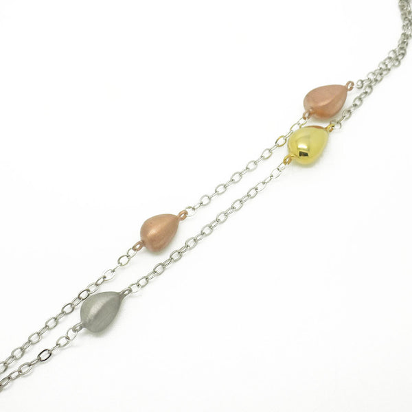 'Hush' Jewels Sterling Silver Yellow & Rose Gold Plate Tumble Long Chain Necklace