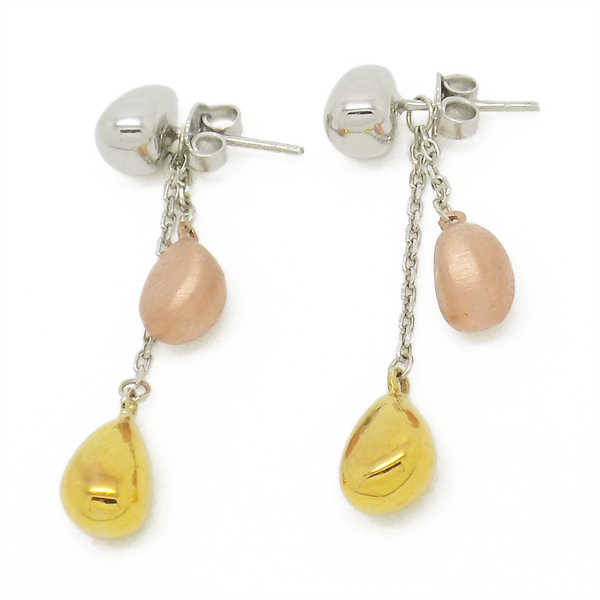 'Hush' Jewels Sterling Silver, Yellow & Rose Gold Plated Tumble Chain Drop Earrings Fastening