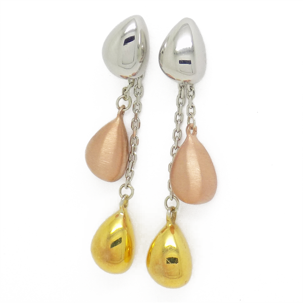 'Hush' Jewels Sterling Silver, Yellow & Rose Gold Plated Tumble Chain Drop Earrings
