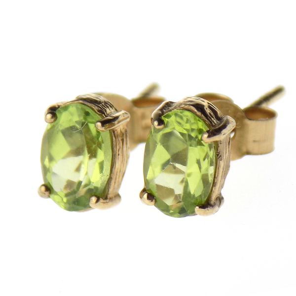 9ct Yellow Gold Oval Peridot Stud Earrings Front