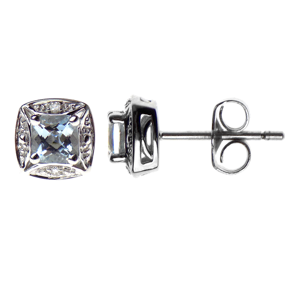 'Elements' 9ct White Gold Square Aquamarine & Diamond Cluster Stud Earrings