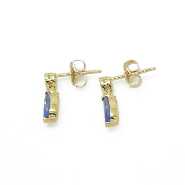 'Elements' 9ct Yellow Gold Marquise ShapeTanzanite & Diamond Drop Earrings Side Detail