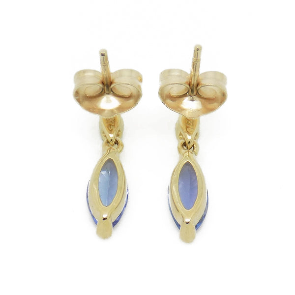 'Elements' 9ct Yellow Gold Marquise ShapeTanzanite & Diamond Drop Earrings Fastening Detail