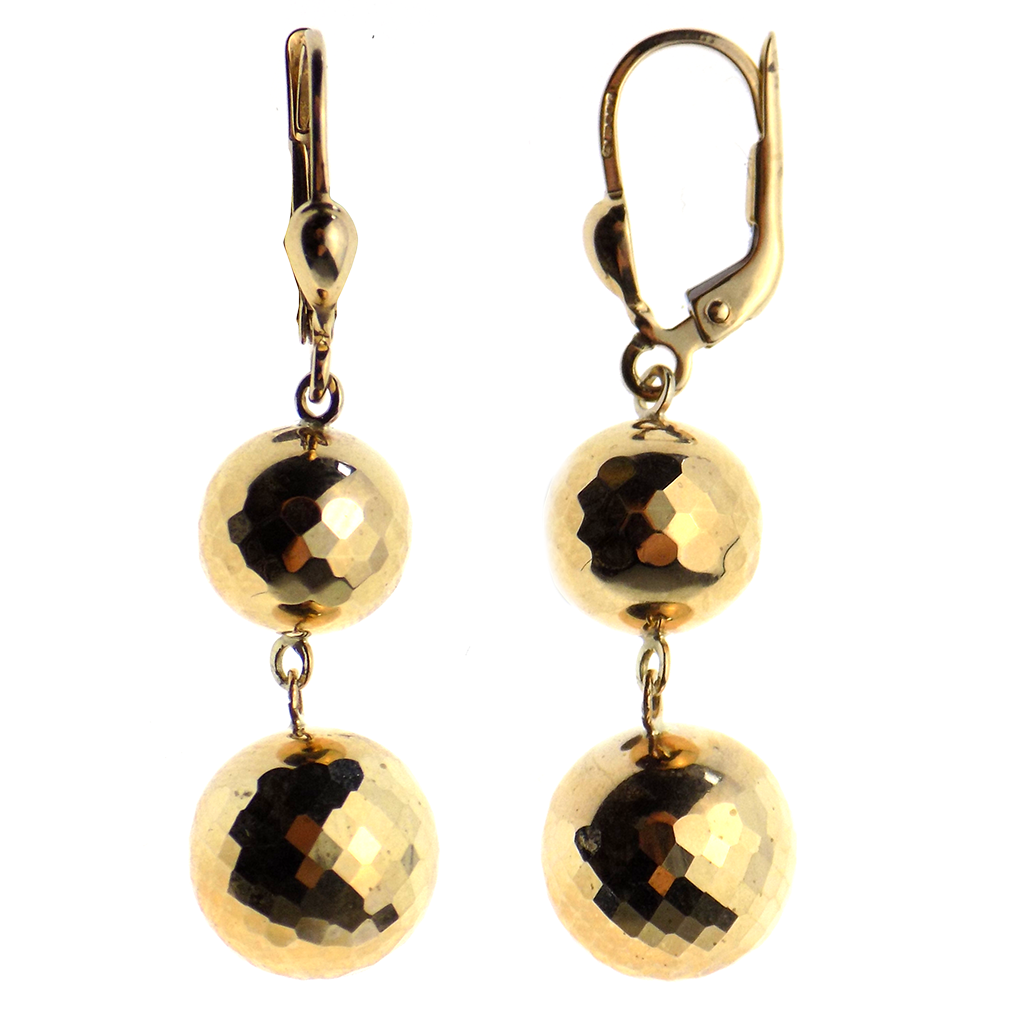 9ct Yellow Gold Faceted Two Ball Drop Earrings