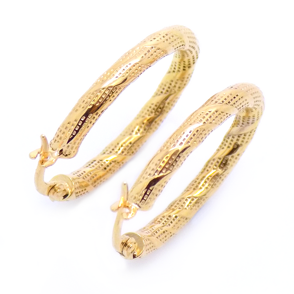 9ct Yellow Gold Zebra Oval Hoop Earrings Reverse