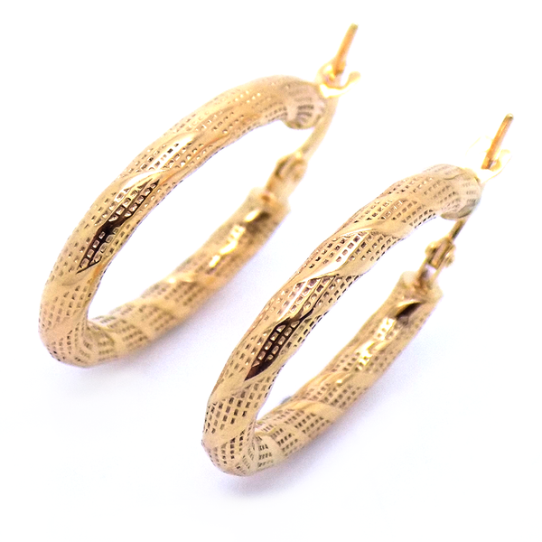 9ct Yellow Gold Zebra Oval Hoop Earrings