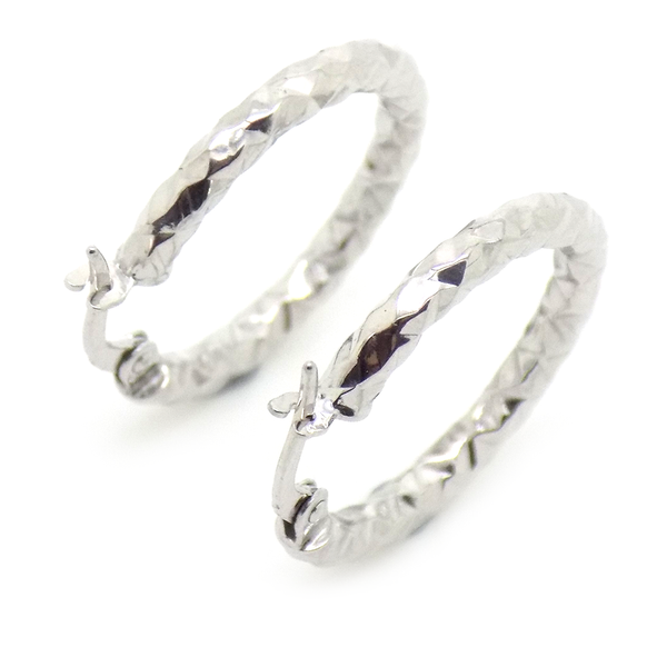 9ct White Gold Medium Hammered Hoop Earrings Reverse